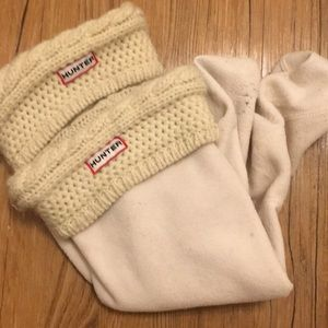Hunter cable knit  wellies white cuffed used m/L